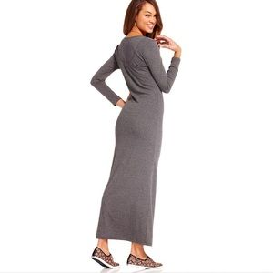 Keds gray longsleeves Henley maxi dress